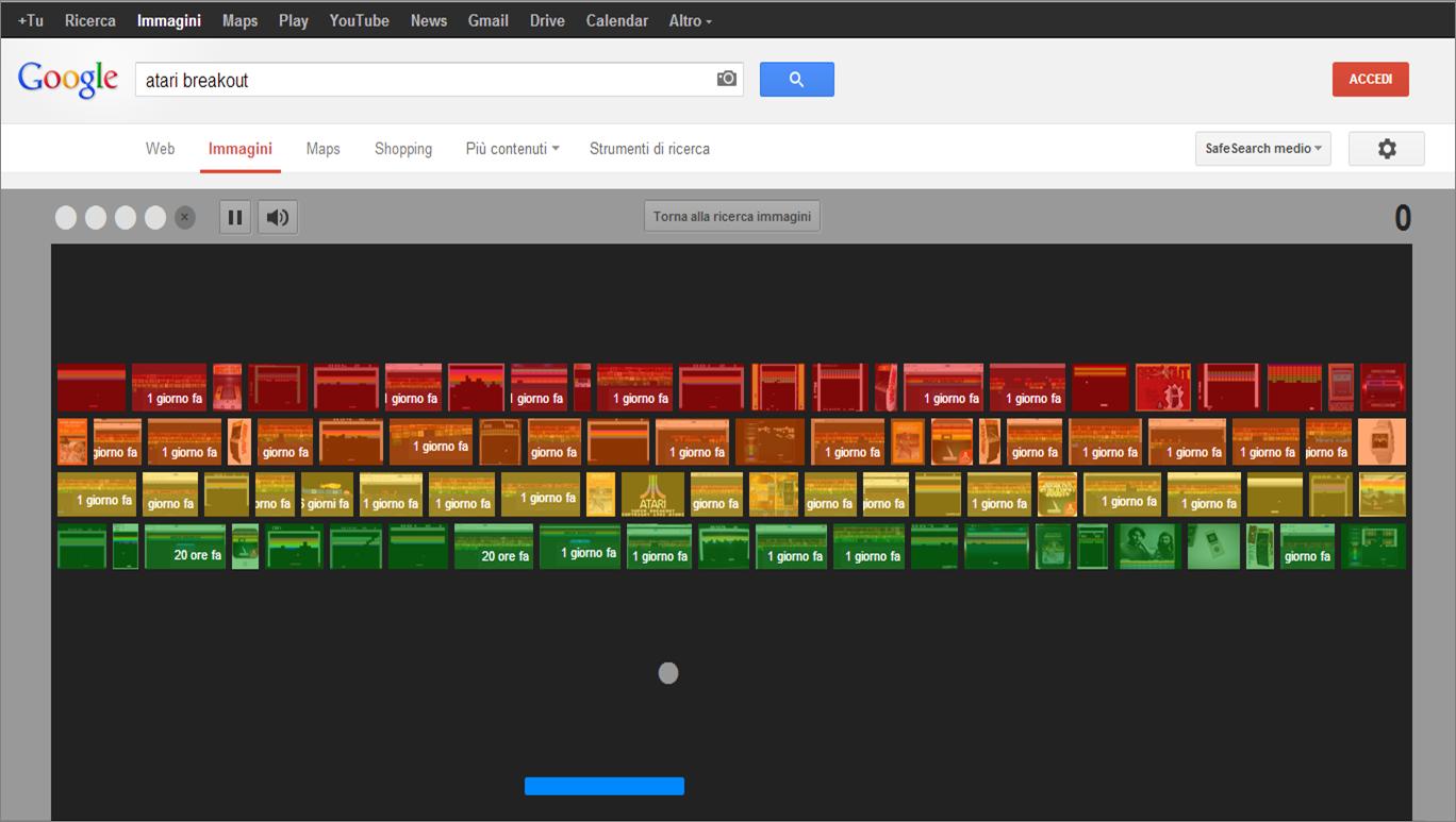 Easter egg in Google Immagini: Breakout!