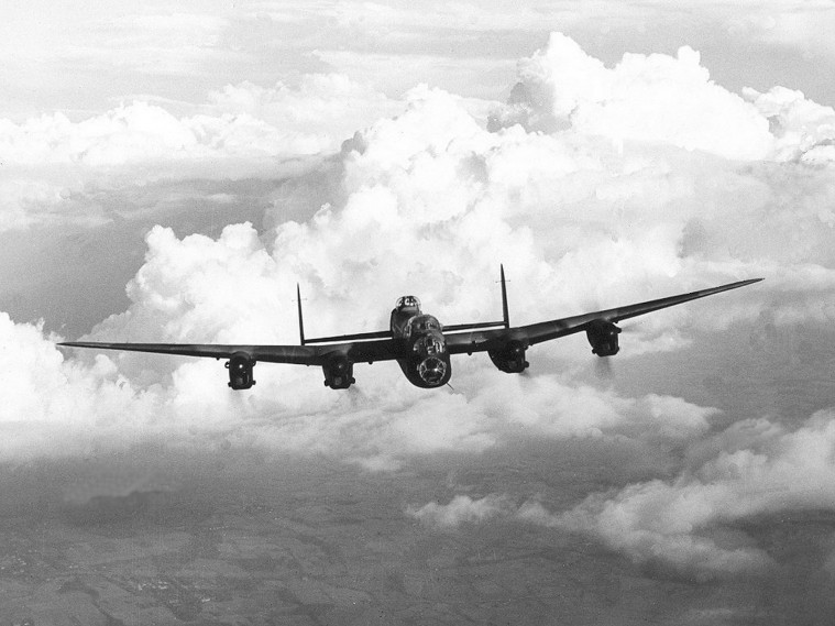 Royal Air Force Avro Lancaster I  flying in the sky