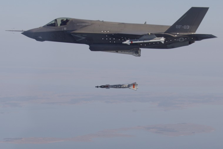 An F-35B test dropping a bomb.