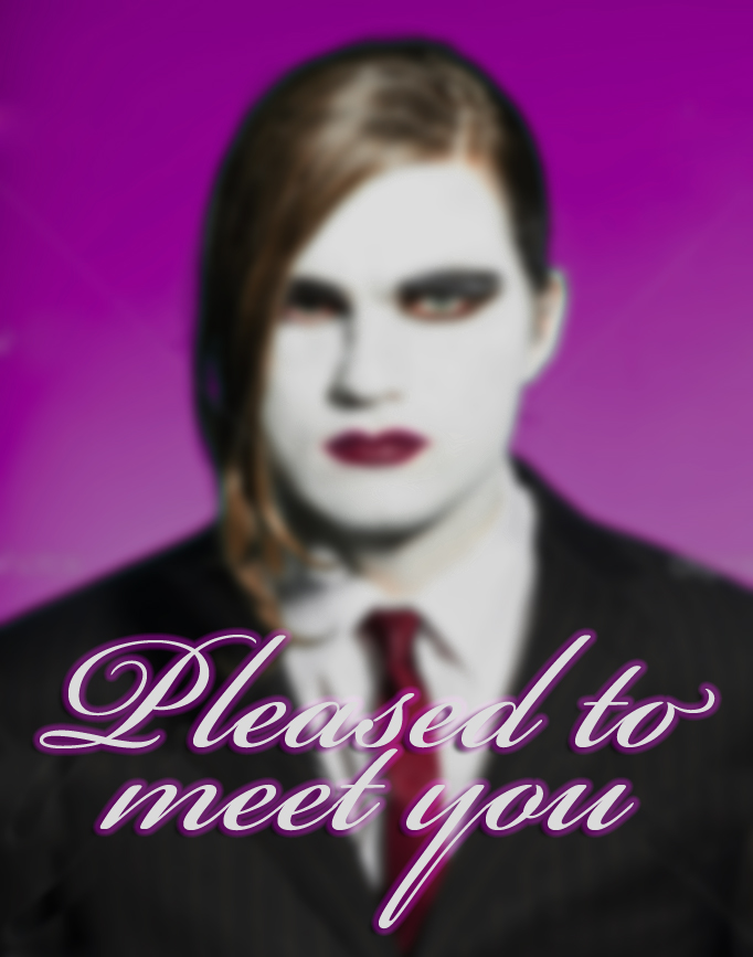 Gothic vampire looking business man wearing black striped suit and dark red tie. Another kind. Scary white face.