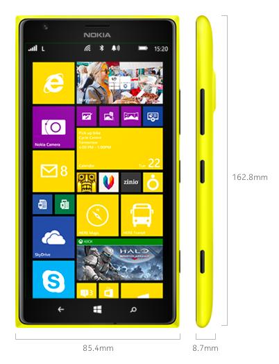 Dimensioni Lumia 1520