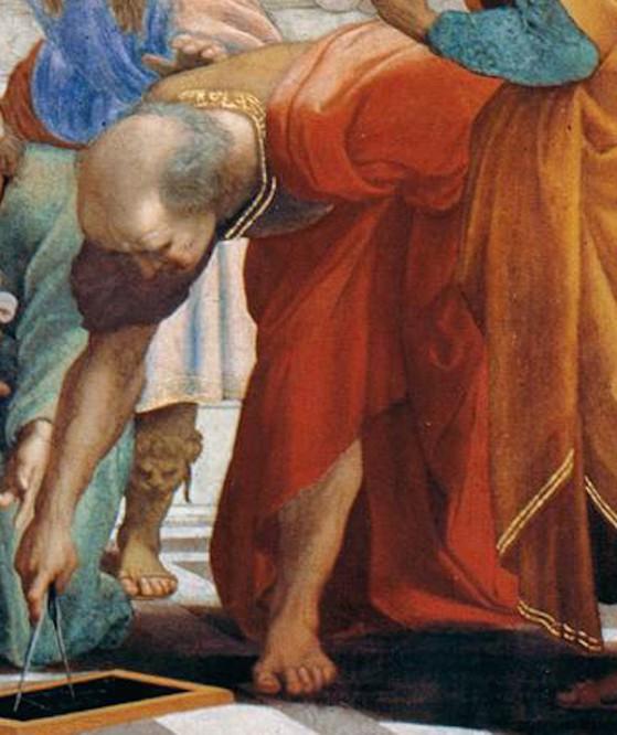 Scuola di Atene, Raffaello. Archimede dipinto con la faccia di Donato Bramante