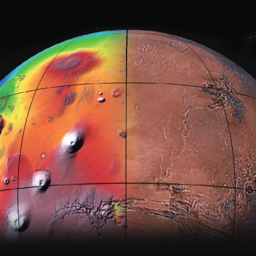 Marte - View of the northern part of the western hemisphere of Mars.