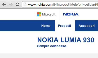 Il sito ufficiale di Nokia presenta già il logo Microsoft affiancato a quello di Nokia.