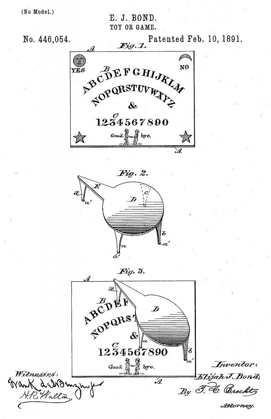 """Il brevetto della tavola Ouija, descritta come """"Toy or Game""""."""