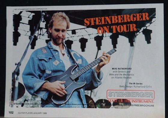 Mike Rutherford ed il suo tecnico sono i veri inventori della GM, la prima Steinberger con un po' di corpo. Infatti Mike essendo molto alto appariva ridicolo con una GL in mano, non sembrava neppure che imbracciasse una chitarra. L'idea piacque e lo strumento fu messo in produzione.