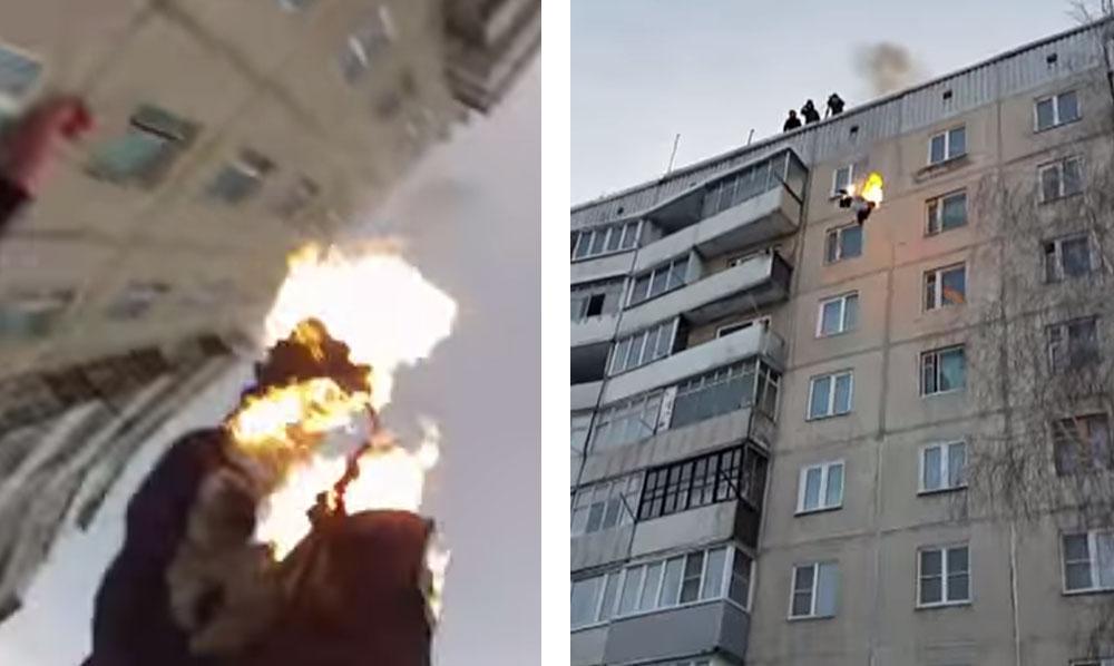 Tuffarsi in fiamme da oltre 30 metri e sopravvivere