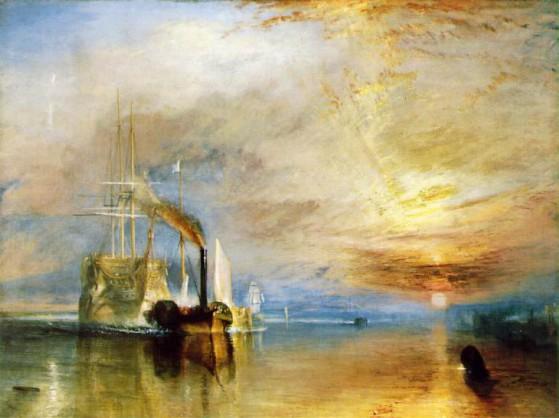 """Per esempio, la scena dipinta in questo famosissimo quadro di Turner (""""La valorosa Téméraire"""") appare nel film in modo praticamente identico a come il pittore la rappresenta"""