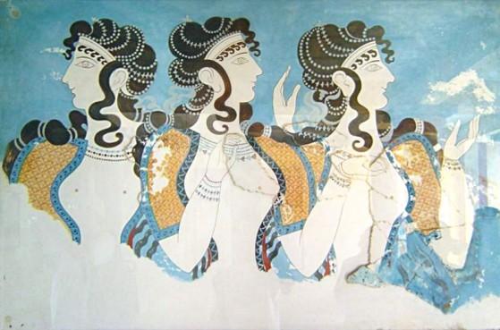 Affresco mostrante tre donne che furono probabilmente regine. via