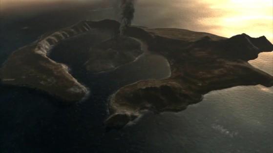 Ricostruzione a computer dell'isola di Thera. (BBC)