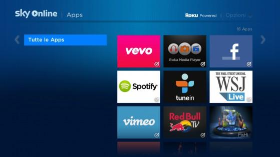 Le app presenti nello store dello Sky Online TV Box: un po' poche.