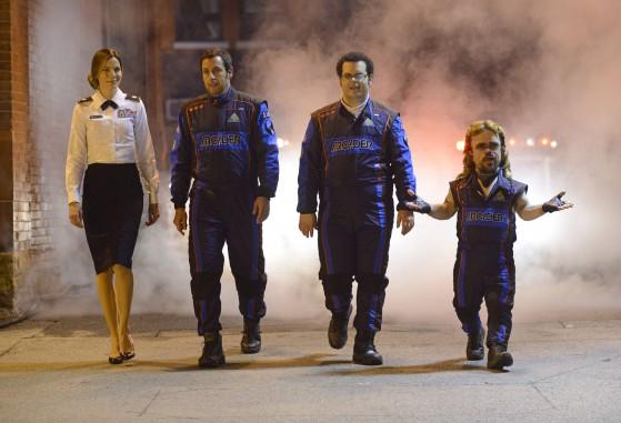 Violet Van Patten (Michelle Monaghan), Sam Brenner (Adam Sandler), Ludlow Lamonsoff (Josh Gad) and Eddie Plant (Peter Dinklage)