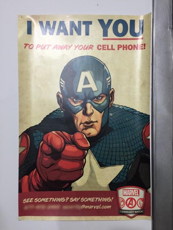 Questo poster non potevo non fotografarlo. Spero che il Cap non si incazzi.