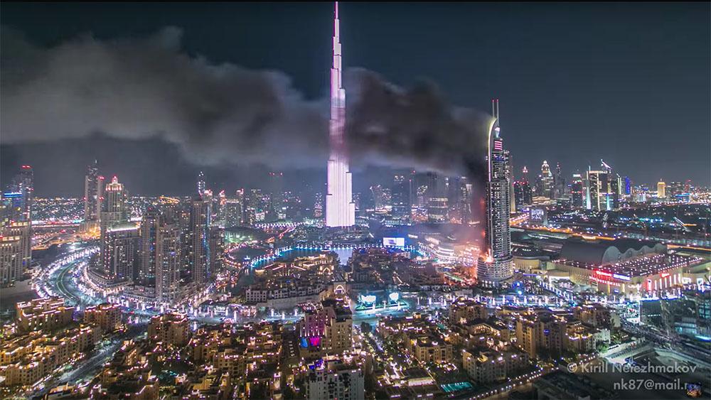 Time Lapse dell'incendio di capodanno a Dubai