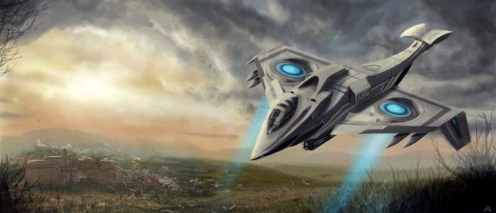 """Caccia orbitale """"Falco"""" in fase di atterraggio"""