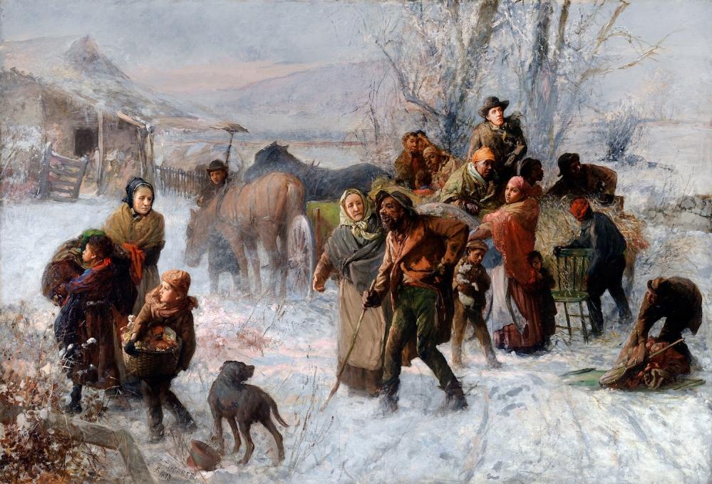 DRM5FP Charles T. Webber, The Underground Railroad 1893 Oil on canvas. Cincinnati Art Museum, Cincinnati, Ohio, USA.