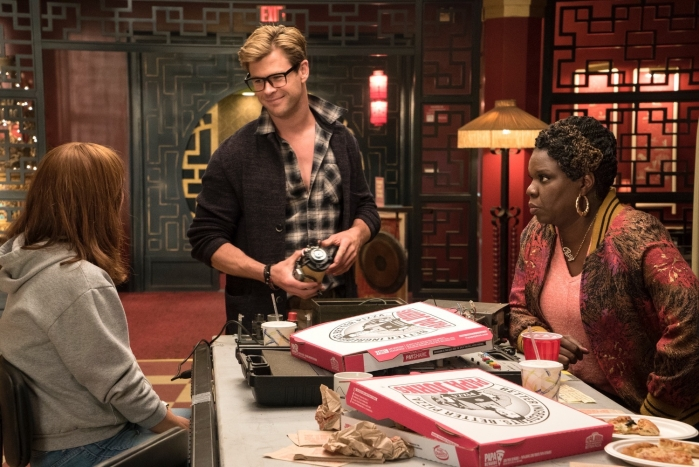 Erin (Kristen Wiig), Kevin (Chris Hemsworth) and Patty (Leslie Jones) in Columbia Pictures' GHOSTBUSTERS.