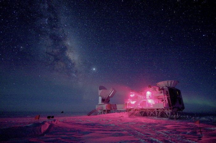 The 10-m (32.8 ft) South Pole Telescope and the BICEP (Background Imaging of Cosmic Extragalactic Polarization) Telescope at Amundsen-Scott South Pole Station is seen against the night sky with the Milky Way in this National Science Foundation picture taken in August 2008. Astronomers announced on March 17, 2014 that they had discovered what many consider the holy grail of their field: ripples in the fabric of space-time that are echoes of the massive expansion of the universe that took place just after the Big Bang. The gravitational waves were detected by the BICEP telescope. REUTERS/Keith Vanderlinde/National Science Foundation/Handout (ANTARCTICA - Tags: SCIENCE TECHNOLOGY TPX IMAGES OF THE DAY ENVIRONMENT) ATTENTION EDITORS - IMAGE HAS BEEN SUPPLIED BY A THIRD PARTY. IT IS DISTRIBUTED, EXACTLY AS RECEIVED BY REUTERS, AS A SERVICE TO CLIENTS. FOR EDITORIAL USE ONLY. NOT FOR SALE FOR MARKETING OR ADVERTISING CAMPAIGNS - RTR3HGWY