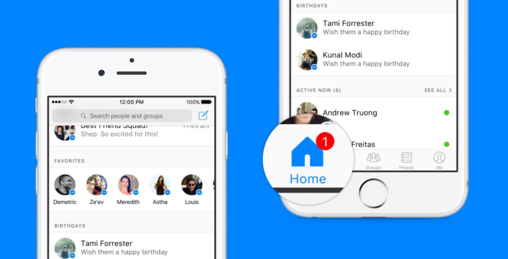 Facebook Messenger, restyle per la schermata Home