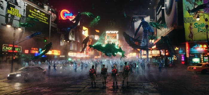 Ghostbusters Abby (Melissa McCarthy), Erin (Kristen Wiig), Holtzmann (Kate McKinnon) and Patty (Leslie Jones) surrounded by ghosts in Times Squares in New York in Columbia Pictures' GHOSTBUSTERS.