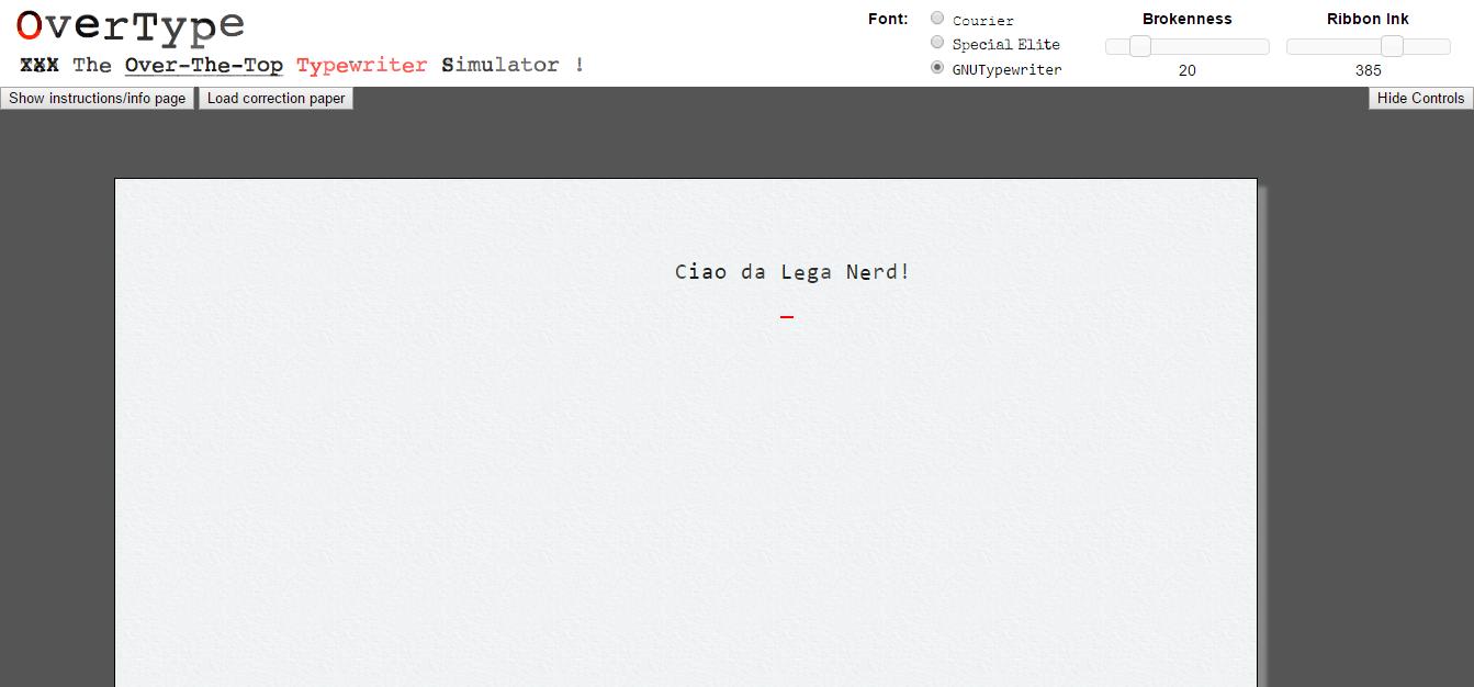 OverType, l'emulatore online di macchina da scrivere