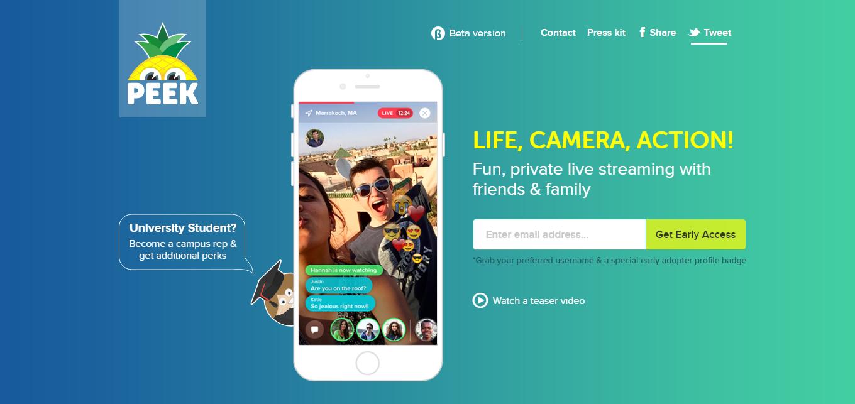 Peek, l'app per il live streaming privato
