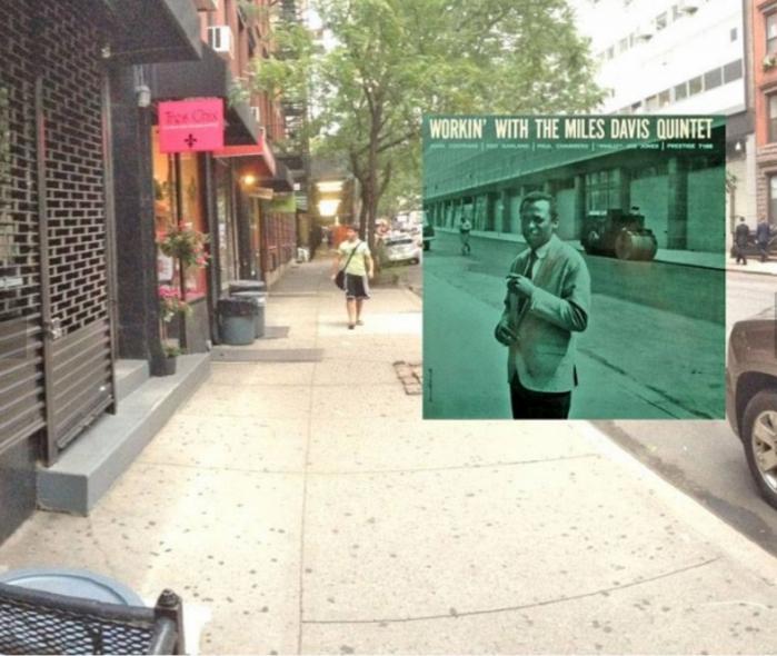 """Miles Davis sulla copertina di """"Workin' with the Miles Davis Quintet"""", nei pressi degli uffici della Prestige Records, 446 West 50th tra la nona e la decima."""