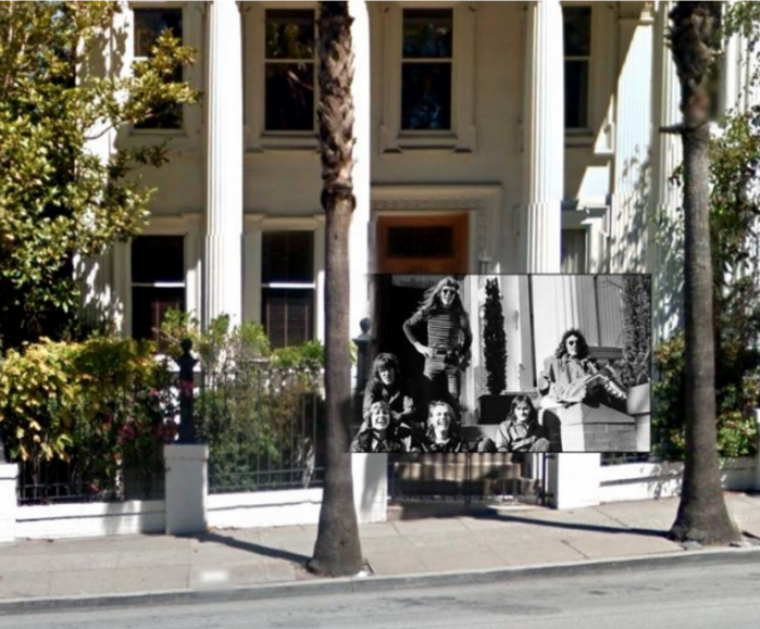 "I Jefferson Airplane davanti alla loro ""Airplane House"", al 2400 di Fulton Street a San Francisco, di fronte al Golden Gate Park (1967)."
