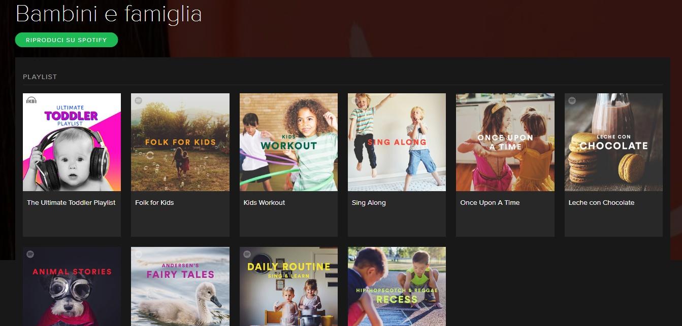 Spotify, la nuova categoria Bambini e Famiglia