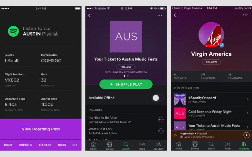 Virgin America e l'integrazione con Spotify