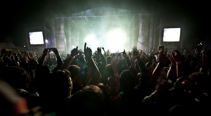 Crowd dancing at a music festival