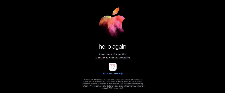 Apple, una nuova presentazione il 27 ottobre