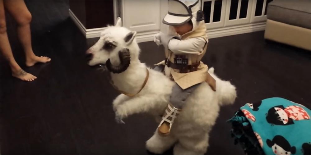 Il costume di Halloween di Luke e tauntaun