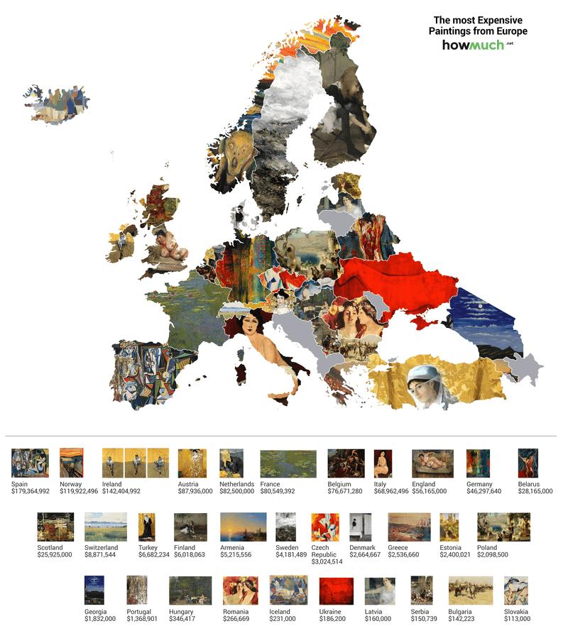 Una mappa dei quadri più costosi del mondo