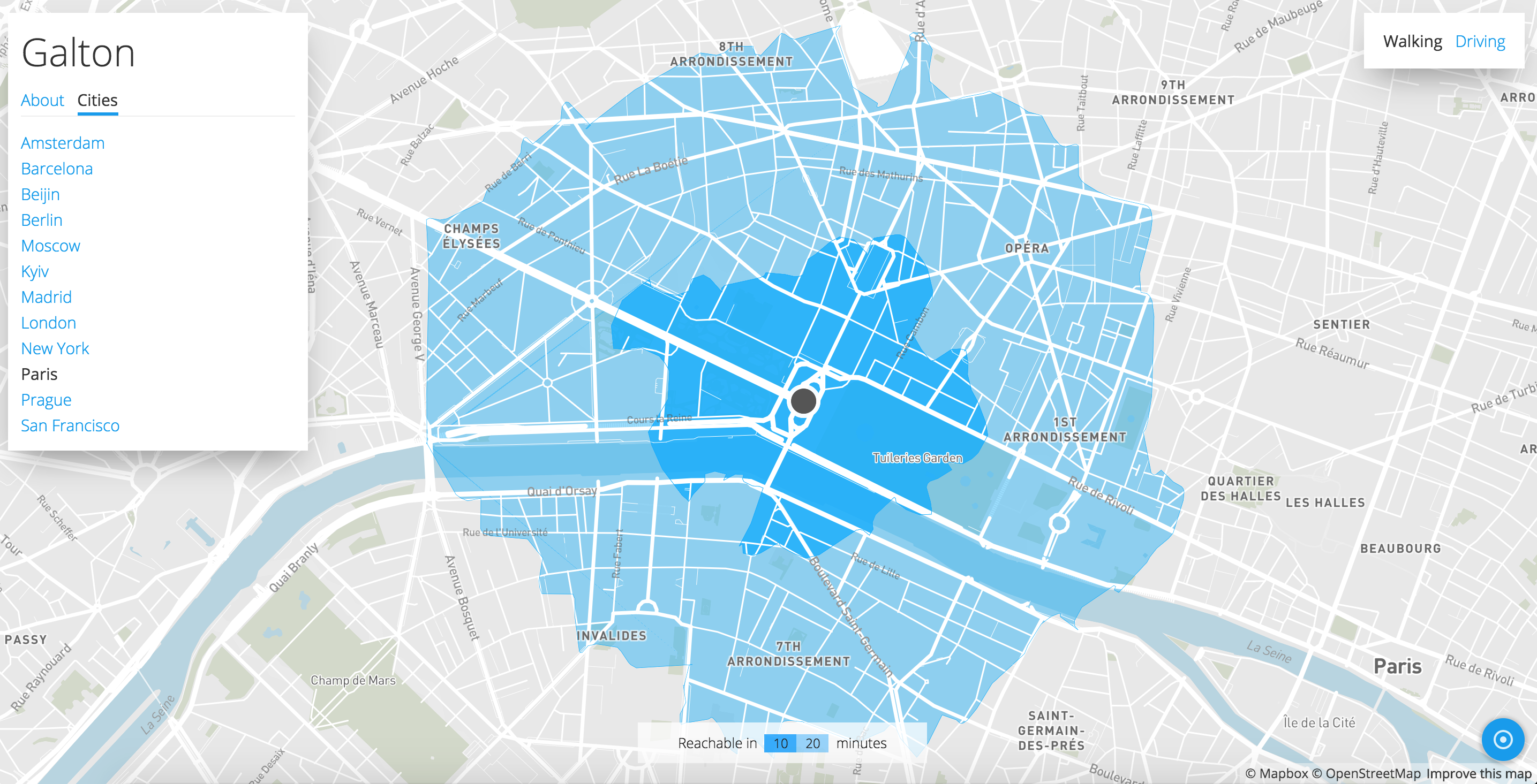Galton, la mappa che ti dice dove puoi arrivare in 10 minuti