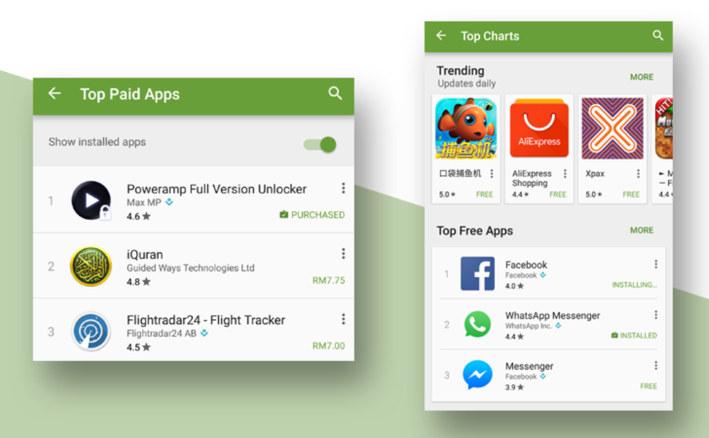 Google Play Store, una nuova UI per le classifiche