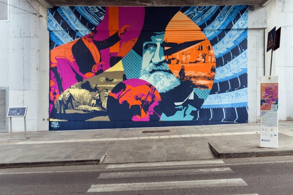 A Parma un murale che ritrae Giuseppe Verdi e la sua Italia