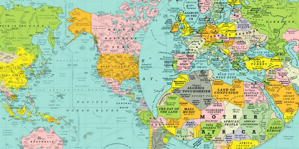Cartina Geografica Mondo Con Nomi.Una Mappa Del Mondo Fatta Di Canzoni