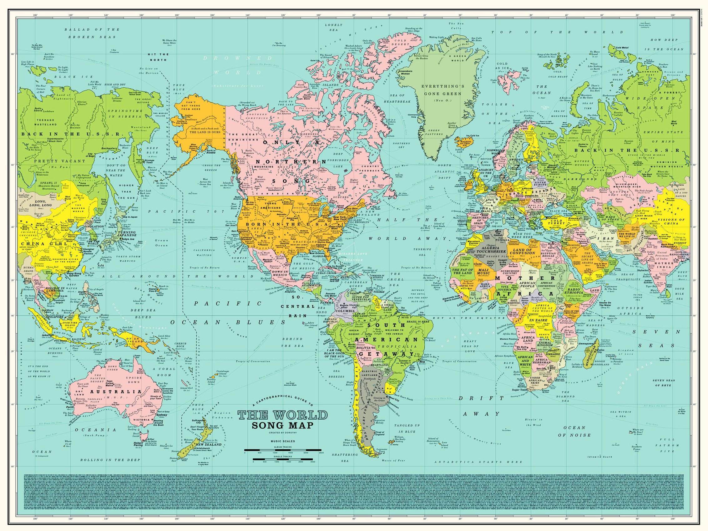 Cartina Mondiale Stati.Una Mappa Del Mondo Fatta Di Canzoni Lega Nerd