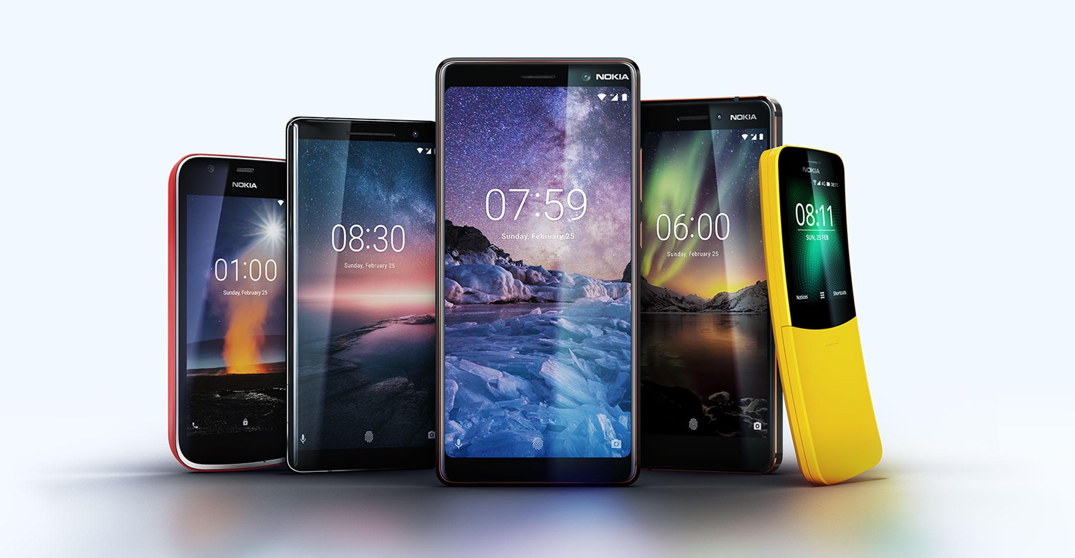 MWC: Nokia, quattro nuovi smartphone con Android One e torna il banana phone 8110