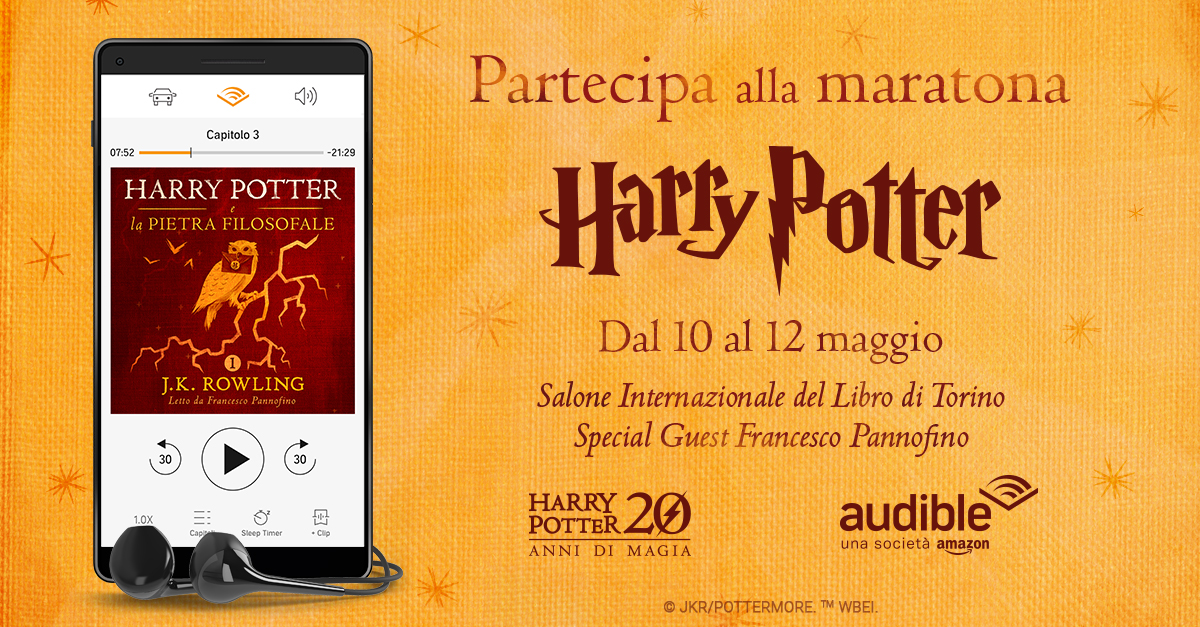 Audible e Harry Potter: al Salone del libro una maratona con Francesco Pannofino