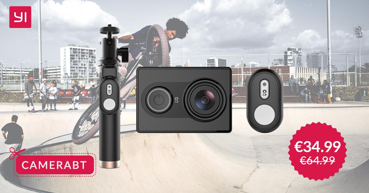 YI Action Camera con Kit Selfie in offerta a soli €34.99 solo fino a lunedì
