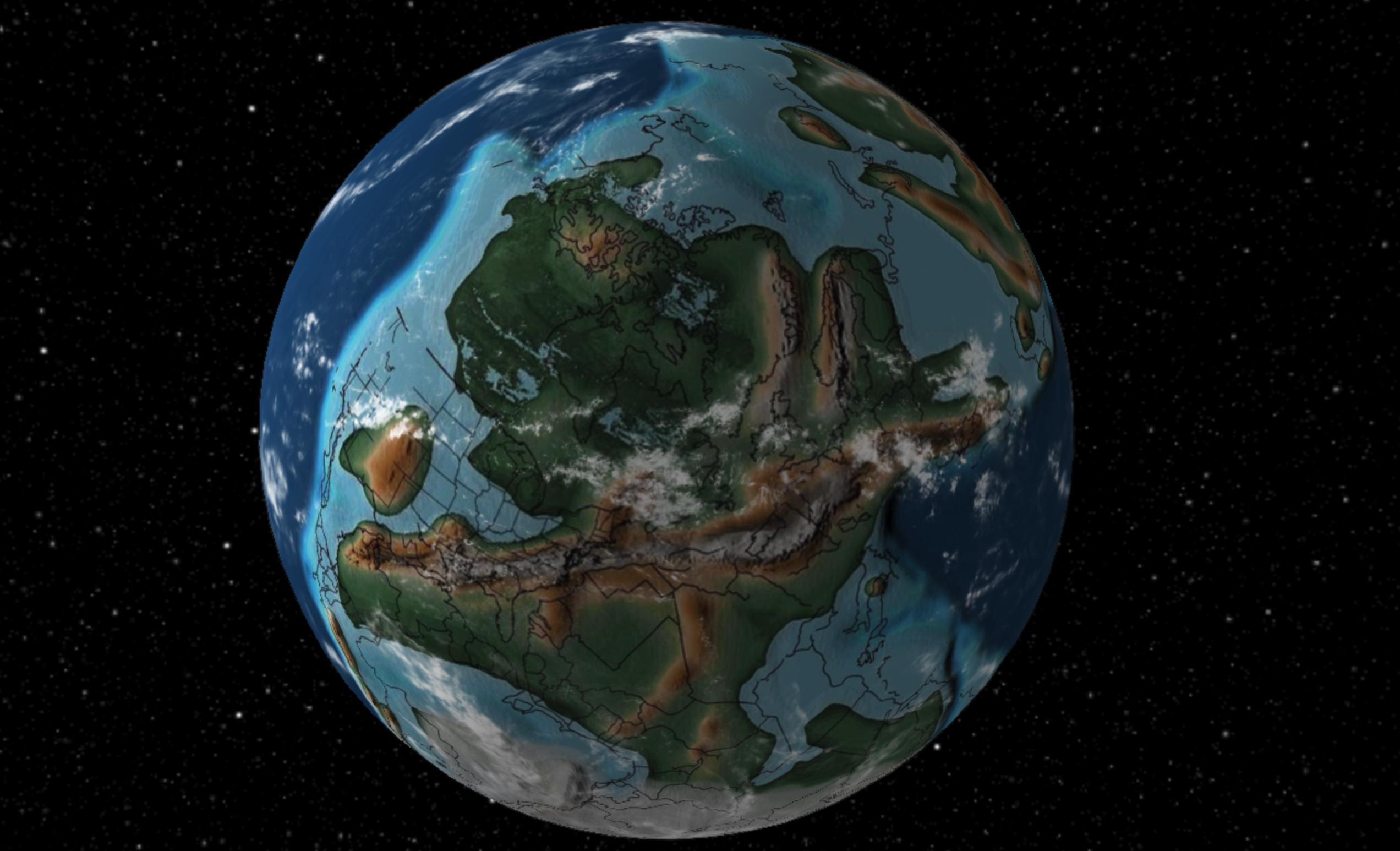 La Terra vista com'era milioni di anni fa