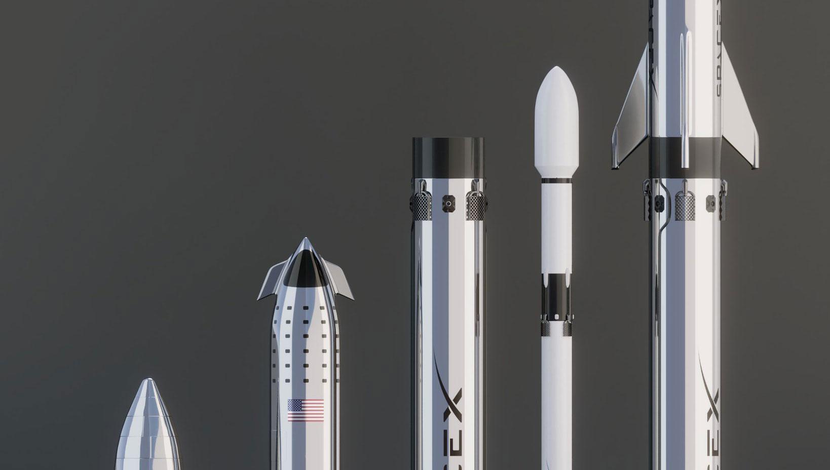 La Starship di SpaceX confrontata con il Falcon 9 e il Falcon Big