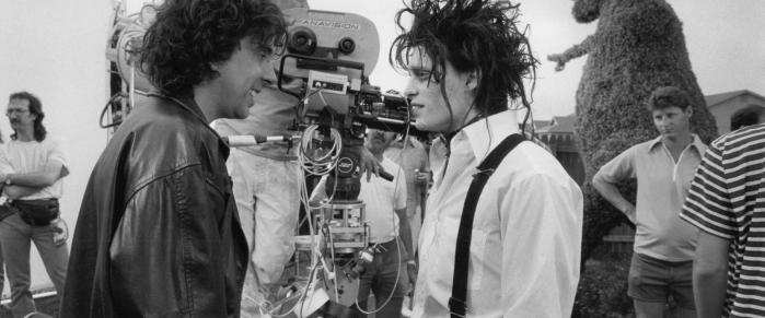 Johnny Depp e Tim Burton sul set di Edward Mani di Forbice
