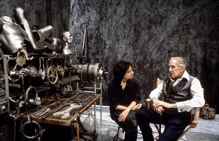 Tim Burton e Vincent Price sul set di Edward Mani di Forbice