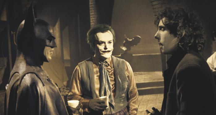 Tim Burton, Michael Keaton e Jake Nicholson sul set di Batman