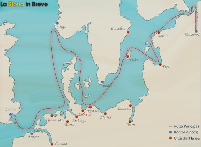 Mappa semplificata delle principali rotte commerciali della Lega Anseatica