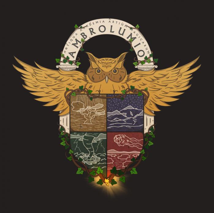 Lo stemma di Ambrolumio: un gufo abbraccia gli stemmi delle 4 congreghe