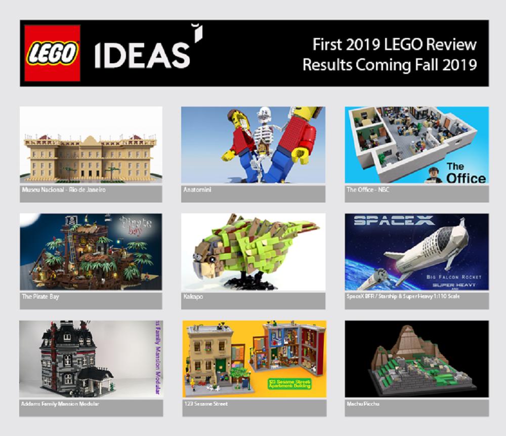 I nove progetti qualificati per la prima review 2019 di LEGO Ideas